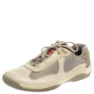 Prada Sport White/Grey Leather And Mesh America's Cup Low Top Trainers Size 44