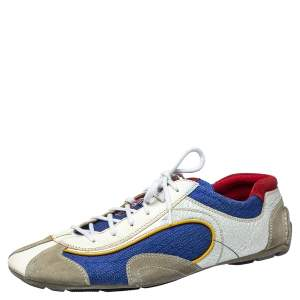 Prada Sport Multicolor Nylon, Suede and Leather Lace Up Sneakers Size 45