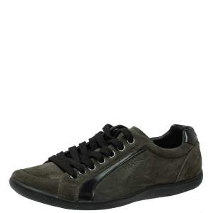 Prada Sport Green Suede Lace Up Sneakers Size 41.5