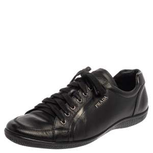 Prada Sport Black Leather Low Top Sneakers Size 41