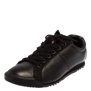 Prada Sport Black Leather And Suede Low Top Sneakers Size 40.5