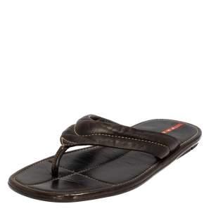 Prada Sport Black Leather Thong Sandals Size 44.5