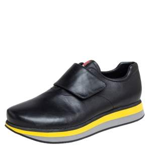 Prada Sport Black Leather Velcro Strap Low Top Sneakers Size 41.5