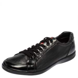 Prada Sport Black Leather And Patent Lace Up Sneakers Size 41