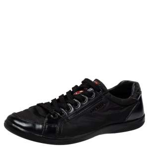 Prada Sport Black Nylon And Leather Low Top Sneakers Size 40.5