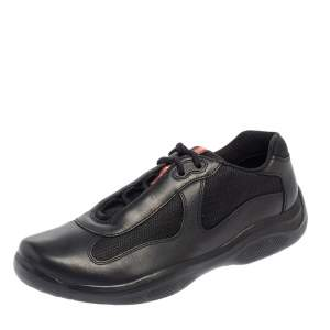 Prada Sport Black Leather And Mesh Lace Up Sneakers Size 43.5
