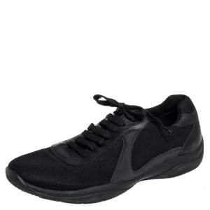 Prada Sport Black Mesh And Leather Low Top Sneakers Size 44