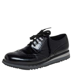 Prada Sport Black Brogue Leather Lace Up Derby Size 44