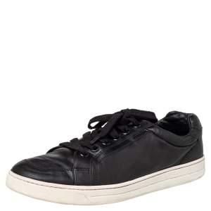 Prada Sport Black Leather Low Top Sneakers Size 44.5