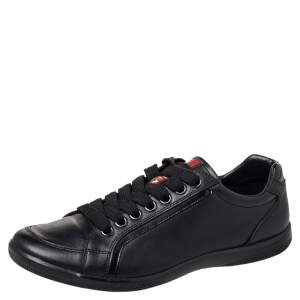 Prada Sport Black Leather Low Top Sneakers Size 40
