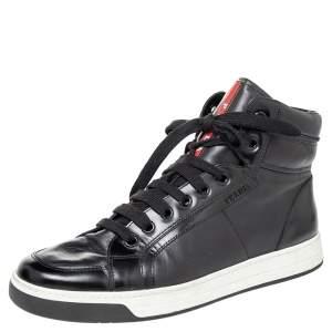 حذاء رياضي برادا سبورت جلد أسود بعنق مرتفع مقاس 42