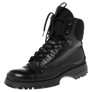 Prada Sport Black Leather Combat Boots Size 43.5