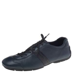 Prada Sport Blue Leather Low Top Sneakers Size 42.5