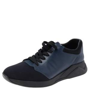 Prada Sport Navy Blue Leather And Neoprene Low Top Sneakers Size 43