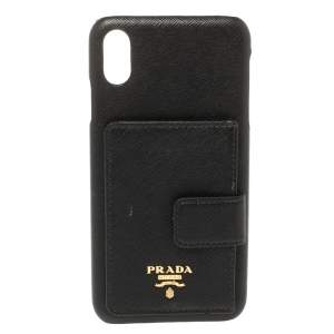 Prada Black Leather Iphone Xs Max Phone Case