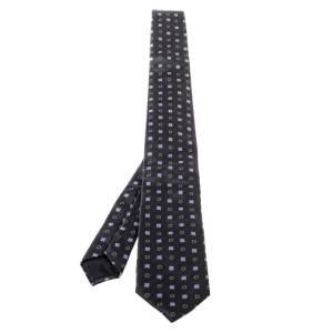 Prada Black Floral Jacquard Silk Tie