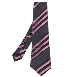 Prada Grey & Pink Diagonal Striped Silk Tie