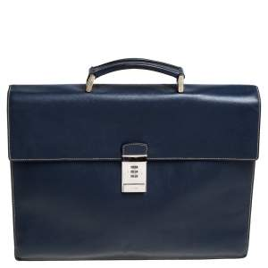 Prada Navy Blue Saffiano Cuir Leather Work  Briefcase