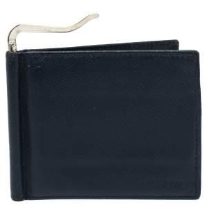 Prada Navy Blue Saffiano Lux Leather Money Clip Bi-fold Wallet