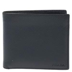 Prada Blue Saffiano Lux Leather Bifold Wallet