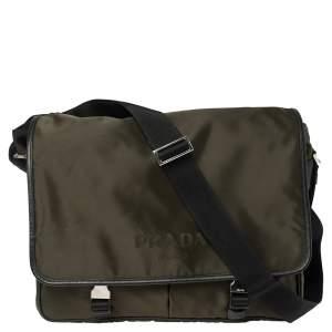 Prada Khaki Green/Black Nylon Flap Messenger Bag