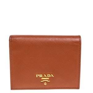 Prada Hazelnut Saffiano Lux Leather Bi-Fold Wallet