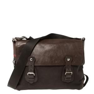 Prada Brown Canvas and Leather Messenger Bag