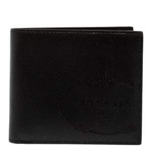 Prada Black Saffiano Lux Leather Logo Embossed Bifold Wallet