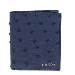 Prada Blue Ostrich Bifold Wallet