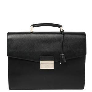 Prada Black Saffiano Lux Leather Double Gusset Briefcase