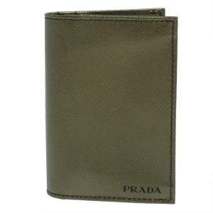 Prada Metallic Green Saffiano Leather Card Holder