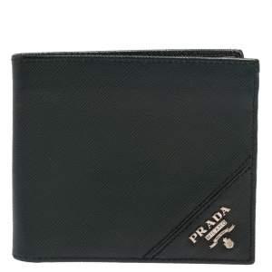 Prada Green Saffiano Lux Leather Bifold Wallet