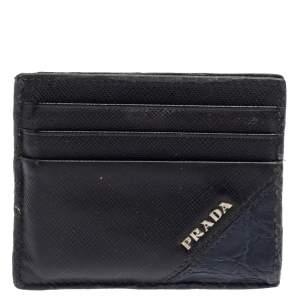 Prada Black/Navy Blue Saffiano Leather and Crocodile Card Holder