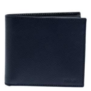 Prada Navy Blue Saffiano Lux Leather Bifold Wallet