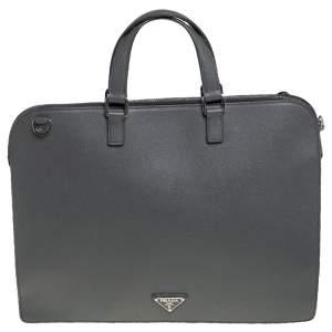 حقيبة سفر برادا جلد سافيانو لوكس رصاصي