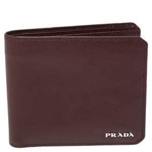 Prada Burgundy Saffiano Lux Leather Bifold Compact Wallet