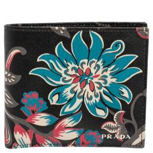 Prada Black Ramage Print Saffiano Lux Leather Bifold Wallet