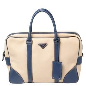 Prada Blue/Beige Canvas and Saffiano Leather Briefcase