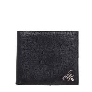 Prada Black Saffiano Leather Bi Fold Wallet