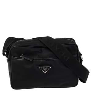 Prada Black Nylon and Saffiano Leather Shoulder bag