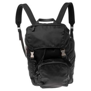 Prada Black Nylon and Leather Logo Patches Backpack