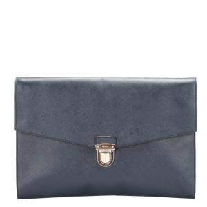 Prada Blue Calf Leather Clutch Bag
