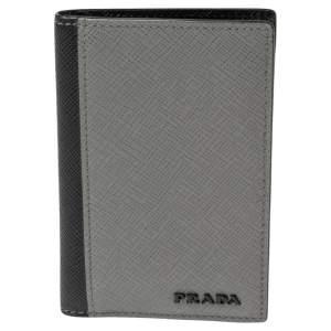 Prada Grey/Black Saffiano Leather Card Holder