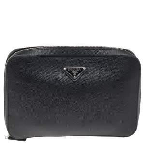 Prada Black Saffiano Leather Zip Around Clutch