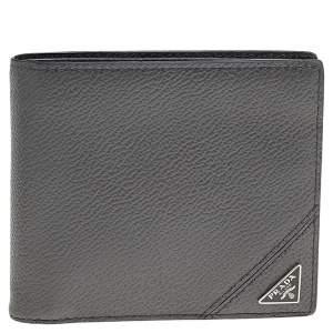 Prada Grey Vitello Grain Leather Bifold Wallet