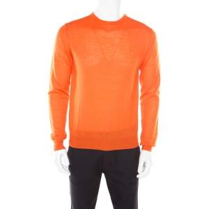 Prada Arancio Orange Rib Knit Crew Neck Sweater L