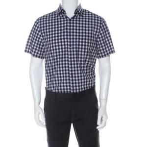 قميص برادا بولينغ بأكمام قصيرة قطن بنقوش كاروهات متعدد الألوان L
