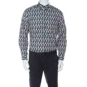 Prada Multicolor Graphic Printed Cotton Button Front Shirt XL