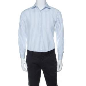 قميص برادا مقلم أزرار أمامية أكمام طويلة قطن متعدد الألوان M