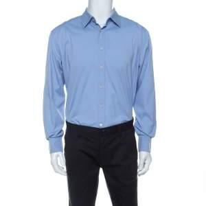 قميص برادا أكمام طويلة خليط قطن أزرق M